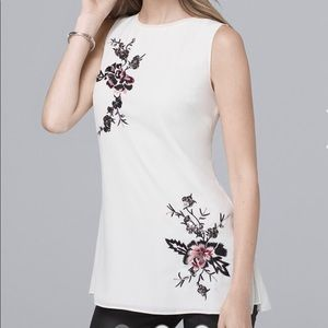 """NWT """"WHBM"""" FLORAL-EMBELLISHED TUNIC SIZE 12"""